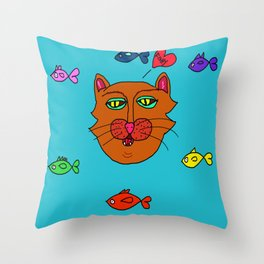 FishyCat Throw Pillow