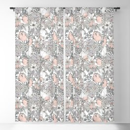 Farmhouse Chic Blush Pink and Grey Floral Pattern Blackout Curtain