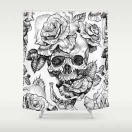 Black and White skull with roses pen drawing Shower Curtain