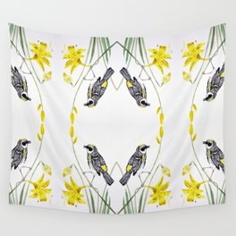Yellow Rumped Warbler bird watercolor painting Wall Tapestry