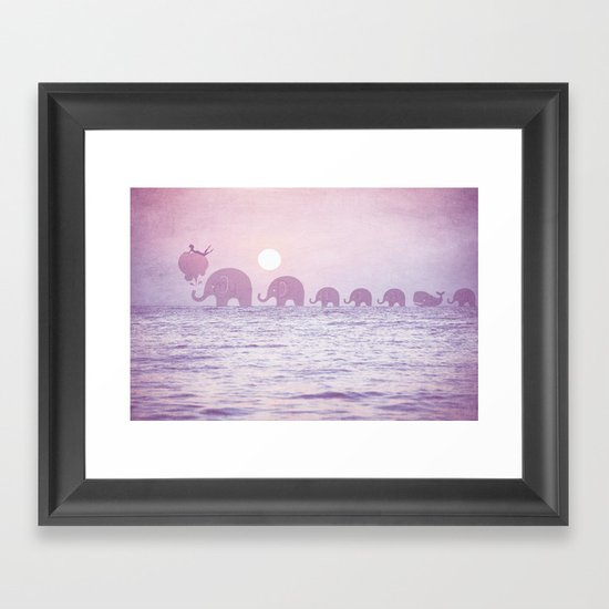 Elephants - a dream walk Framed Art Print