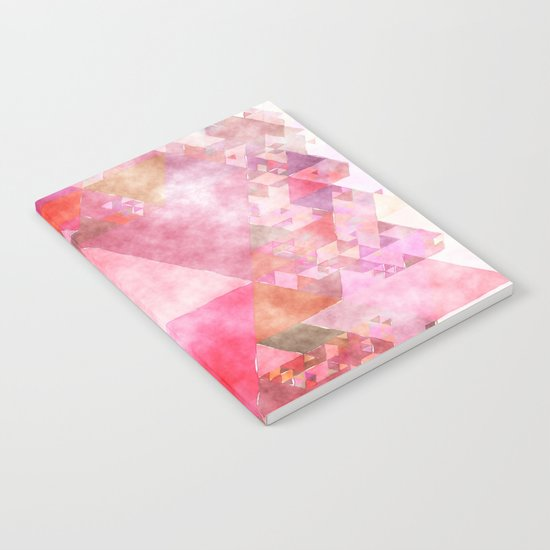 Pink triangles - Abstract elegant watercolor pattern Notebook