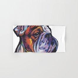 Fun English Bulldog Dog Portrait bright colorful Pop Art Painting by LEA Hand & Bath Towel