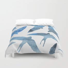 Watercolor birds - sapphire ink Duvet Cover
