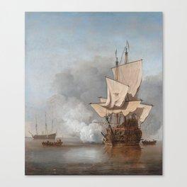 Man-Of-War Firing A Cannon Shot Canvas Print