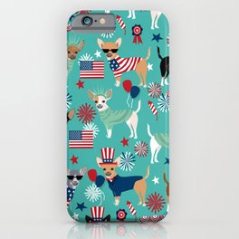 Chihuahua fourth of july patriotic america summer dog gifts home decor chihuahuas iPhone Case
