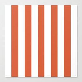 Medium vermilion red - solid color - white vertical lines pattern Canvas Print