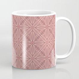 Light terracotta and coral floral mandala tile Coffee Mug
