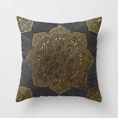 Wood Mandala - Gold Throw Pillow