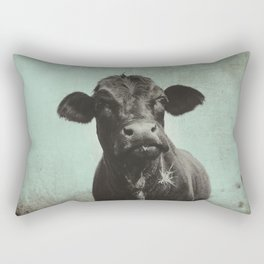 Rustic Angus Cow Portrait Rectangular Pillow