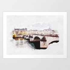 Paris Bridge Paint Art Print