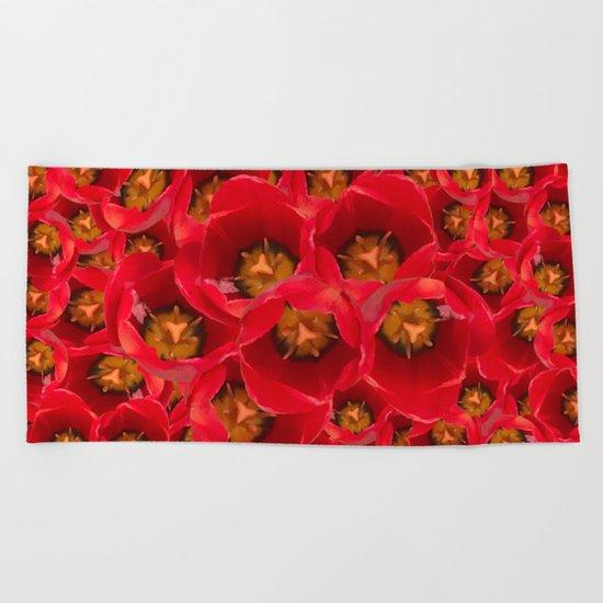 Venetian Red Tulips Beach Towel