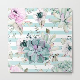 Succulent Garden Striped Succulent Blue Metal Print