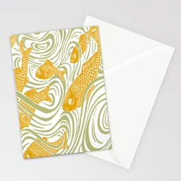Art Nouveau Swimming Koi by Seasons K Designs Stationery Cards