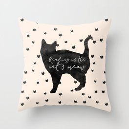 Reading Is The Cat's Meow Throw Pillow
