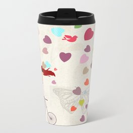 Red haired girl French polka dots dress riding retro bike bicycle backet full of hearts everywhere Metal Travel Mug