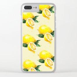 Lemon Pattern in Watercolour Clear iPhone Case