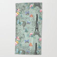 Paris - my love - France Nostalgy- French Vintage Beach Towel