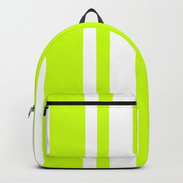 Mixed Vertical Stripes - White and Fluorescent Yellow Backpack