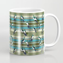 Kereru on green and turquoise plaid Coffee Mug