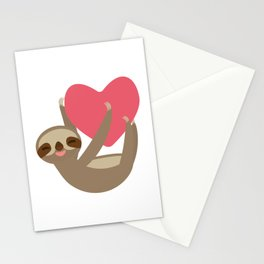 Valentines day card. Funny sloth with a red heart Stationery Cards