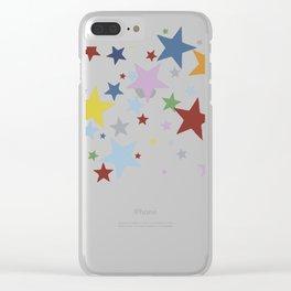 Multi Stars Black Clear iPhone Case