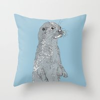 otter Throw Pillows featuring Otter by caseysplace