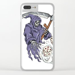 Grim Reaper Throwing the Dice Drawing Color Clear iPhone Case