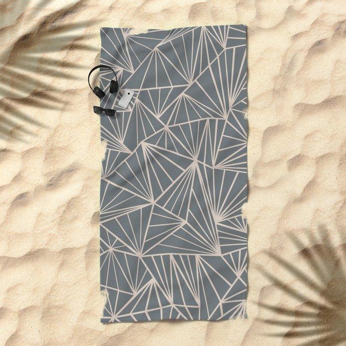 Ab Fan Grey And Nude Beach Towel