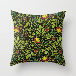 Lime, Dark Green, Red, Black & Yellow Floral Pattern Throw Pillow