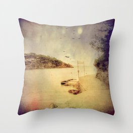 The path that hugs the beach Throw Pillow