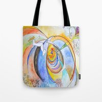 trip Tote Bags featuring trip by Meld & Heal