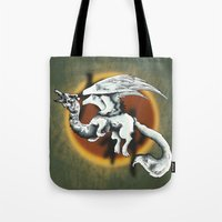 okami Tote Bags featuring okami dragon by @Milre_art
