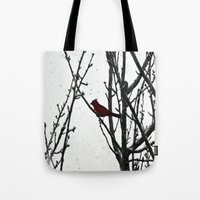 cardinal Tote Bags featuring Cardinal by Emma Nettles