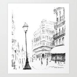 Sketch of a Street in Paris Art Print