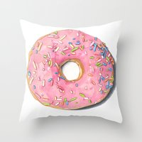 donut Throw Pillows featuring Donut by Hannah Catherine