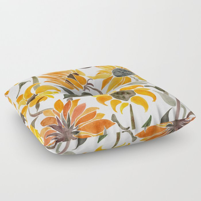 Sunflower Watercolor – Yellow & Black Palette Floor Pillow by catcoq ...