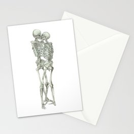 Love, kissing couple, skeleton, anatomy, human, kiss, relationship, marriage Stationery Cards