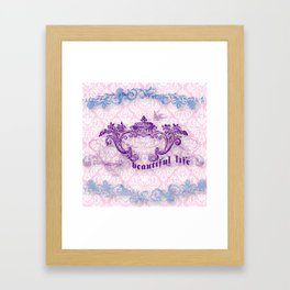 Lace and damask Framed Art Print