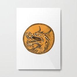 Chinese Dragon Head Circle Etching Metal Print