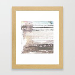 brown blue abstract watercolor Framed Art Print