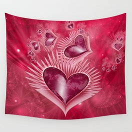 Girly Pink Hearts Wall Tapestry