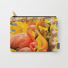 YELLOW WATER LILIES SAFFRON FLAMINGOS FANTASY Carry-All Pouch