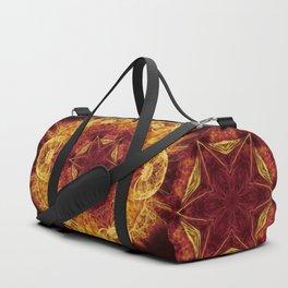 Magical glowing fractal mandala Duffle Bag