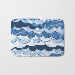 Abstract Blue Sea Waves Design Bath Mat