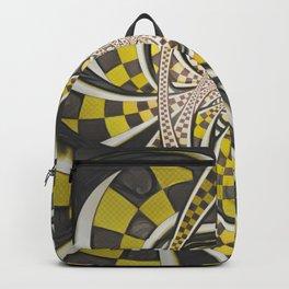 Liquid Taxi Cab, a Yellow Checkered Retro Fractal Backpack