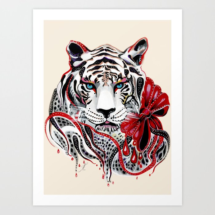 White Tiger Art Print By Feliciaart Society6