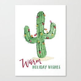 Warm holiday wishes Cactus with Holiday lights Canvas Print