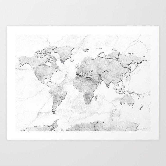 world map marble art print