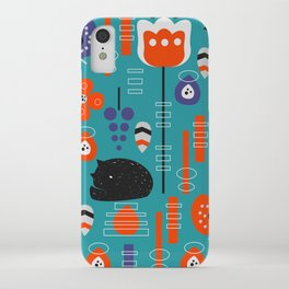 Modern birds and sleepy cats iPhone Case